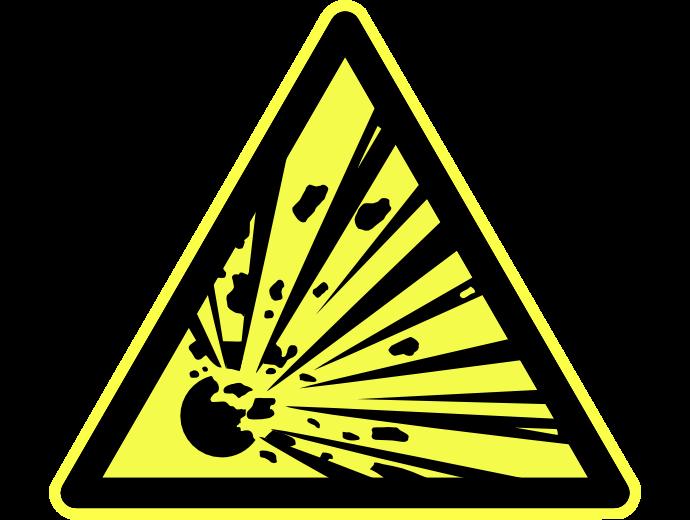 Warnung vor explosionsfähigen Stoffen