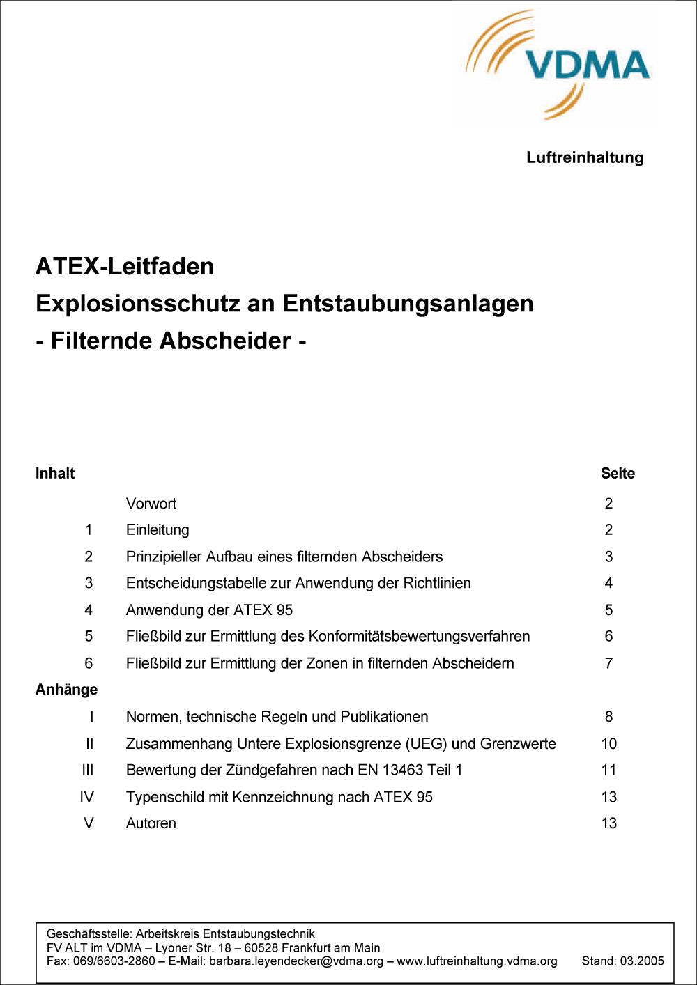 VDMA: ATEX Leitfaden - Explosionsschutz an Entstaubungsanlagen