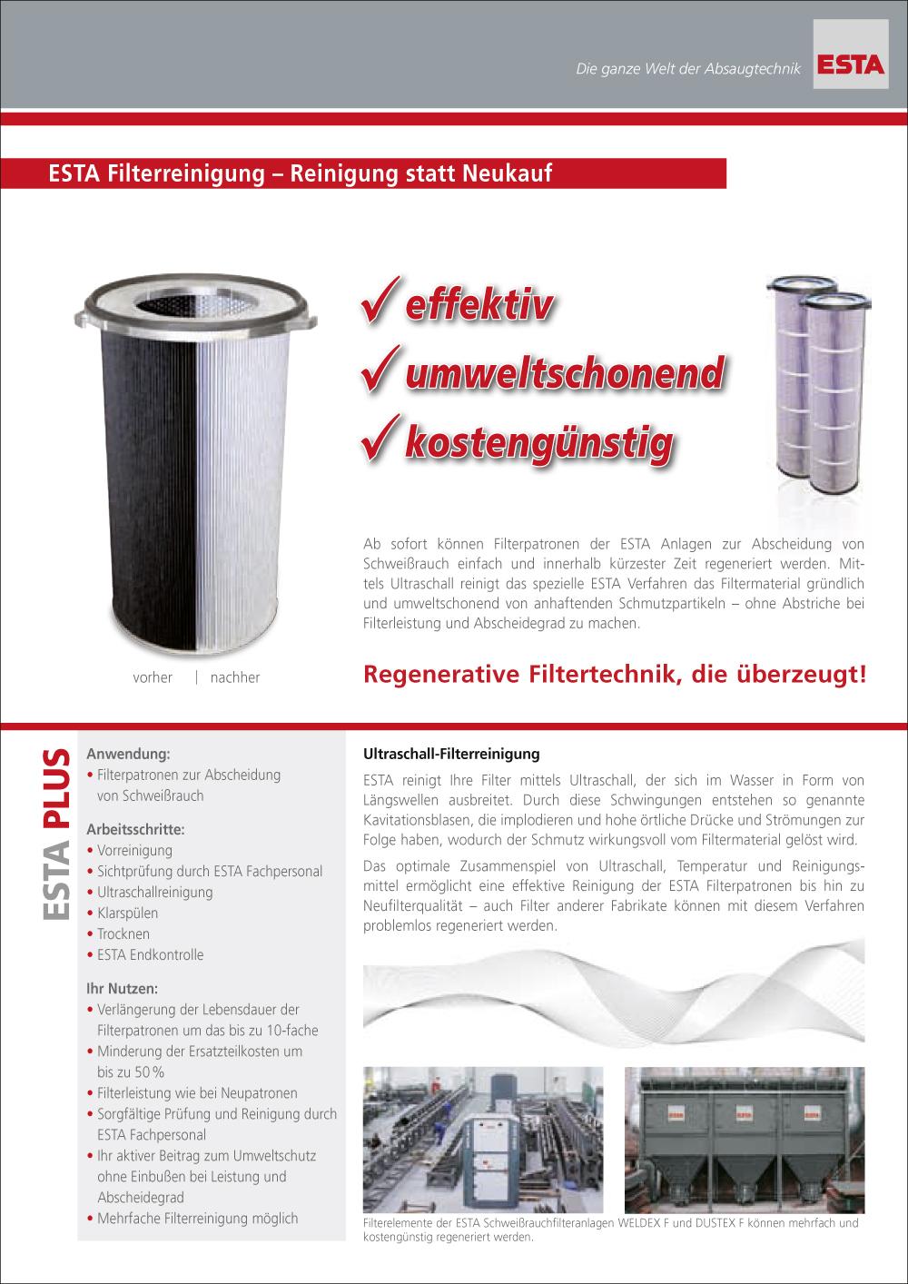 Das Filterreinigungs Prospekt