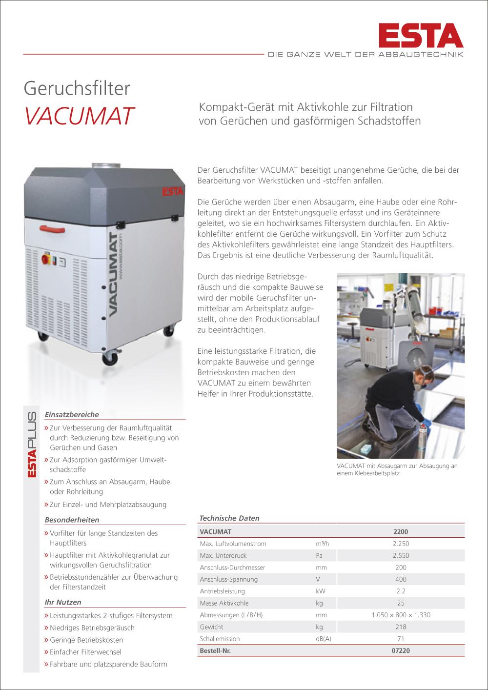 Das VACUMAT-Prospekt