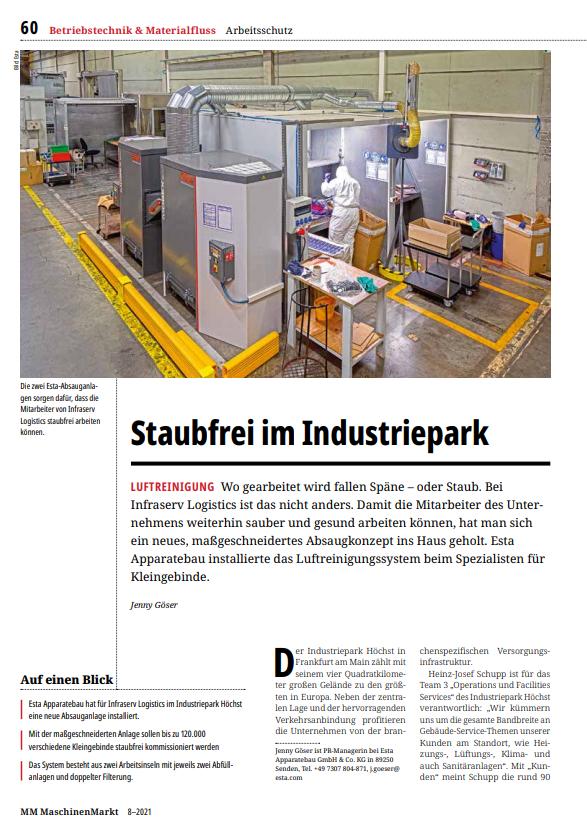Clipping Staubfrei im Industriepark