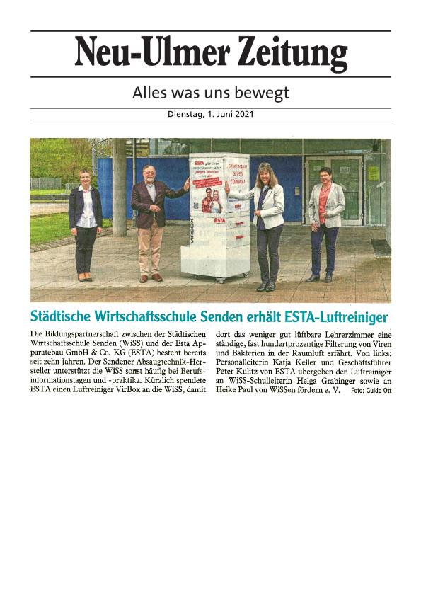 Zeitungsartikel Neu-Ulmer Zeitung WISS in Senden erhält Luftreiniger von ESTA