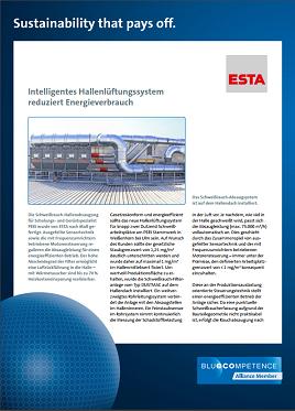 Blue Competence: Intelligentes Hallenlüftungssystem von ESTA reduziert Energieverbrauch.