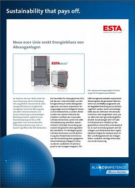 Blue Competence: Neue eco+ Linie von ESTA senkt Energiebilanz von Absauganlagen.