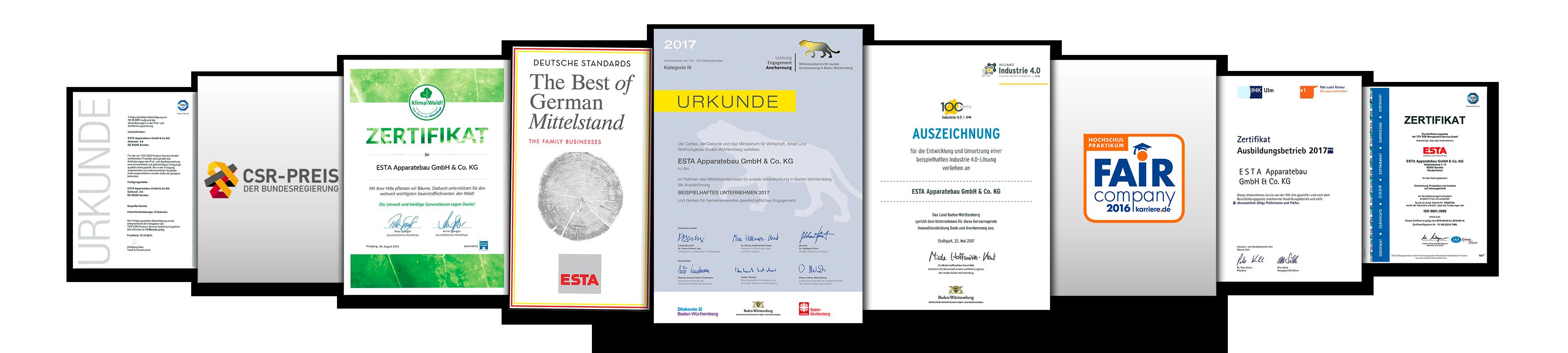 ESTA ist bereits vielfach und für die unterschiedlichsten Leistungen ausgezeichnet worden.