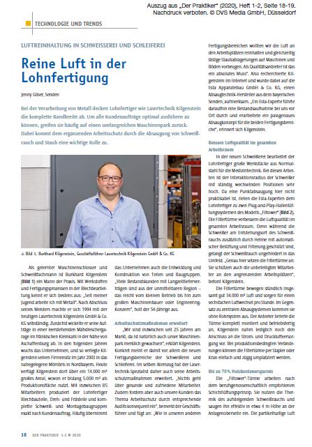 """ESTA Anwenderreportage in Fachmagazin """"Der Praktiker"""""""