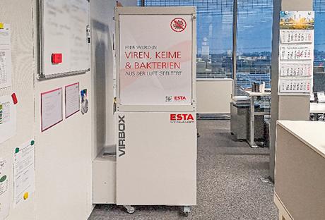 Luftreiniger VirBox in Großraumbüro