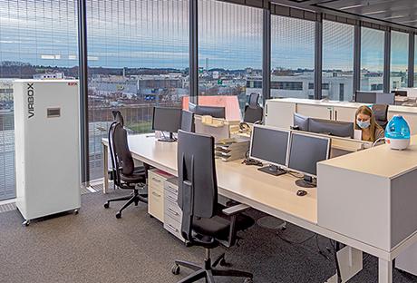 VirBox Air purifier from ESTA in an open-plan office