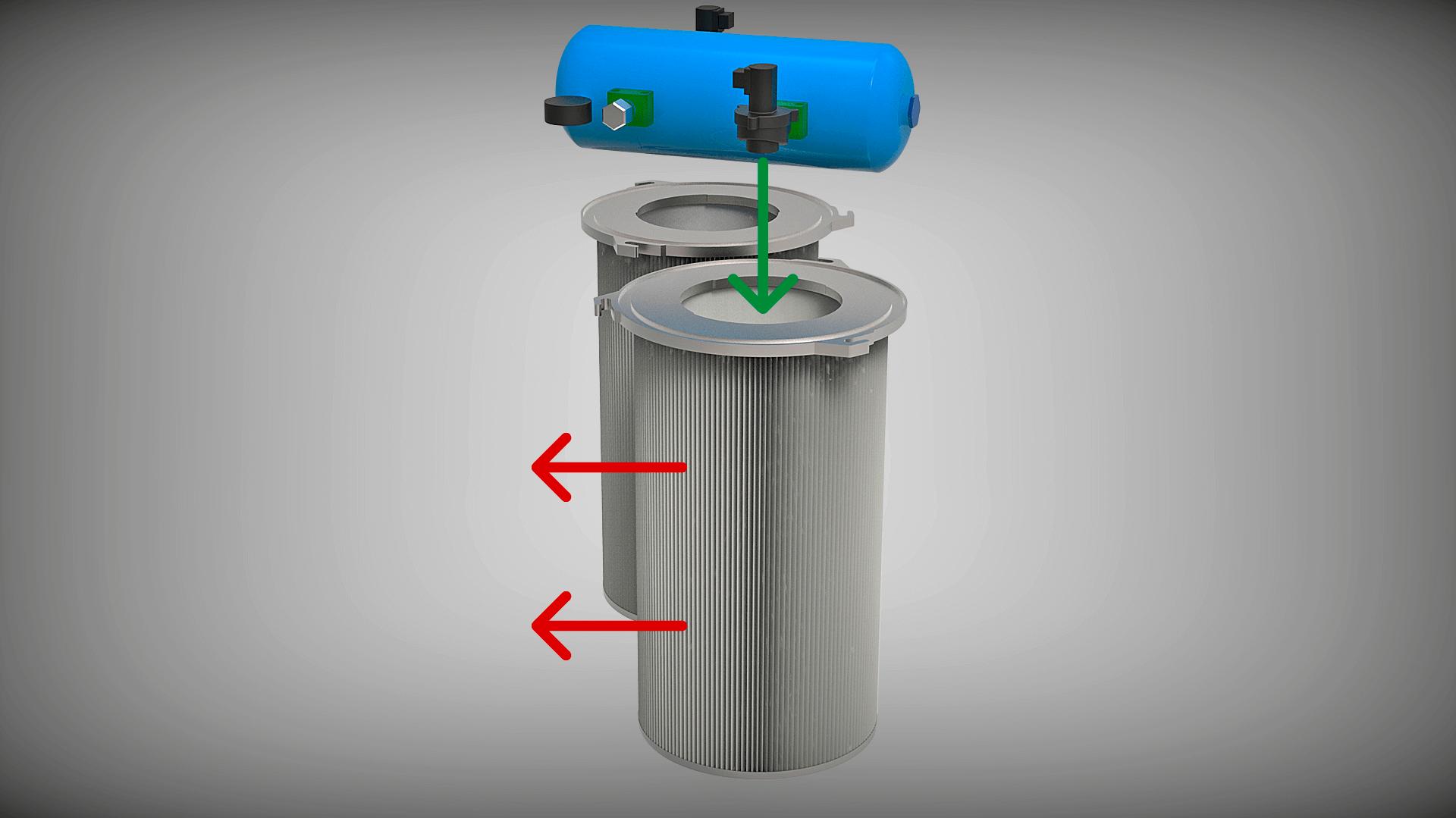 Die leistungsstarke Jet-Pulse-Filterabreinigung des WHISPERSOG.