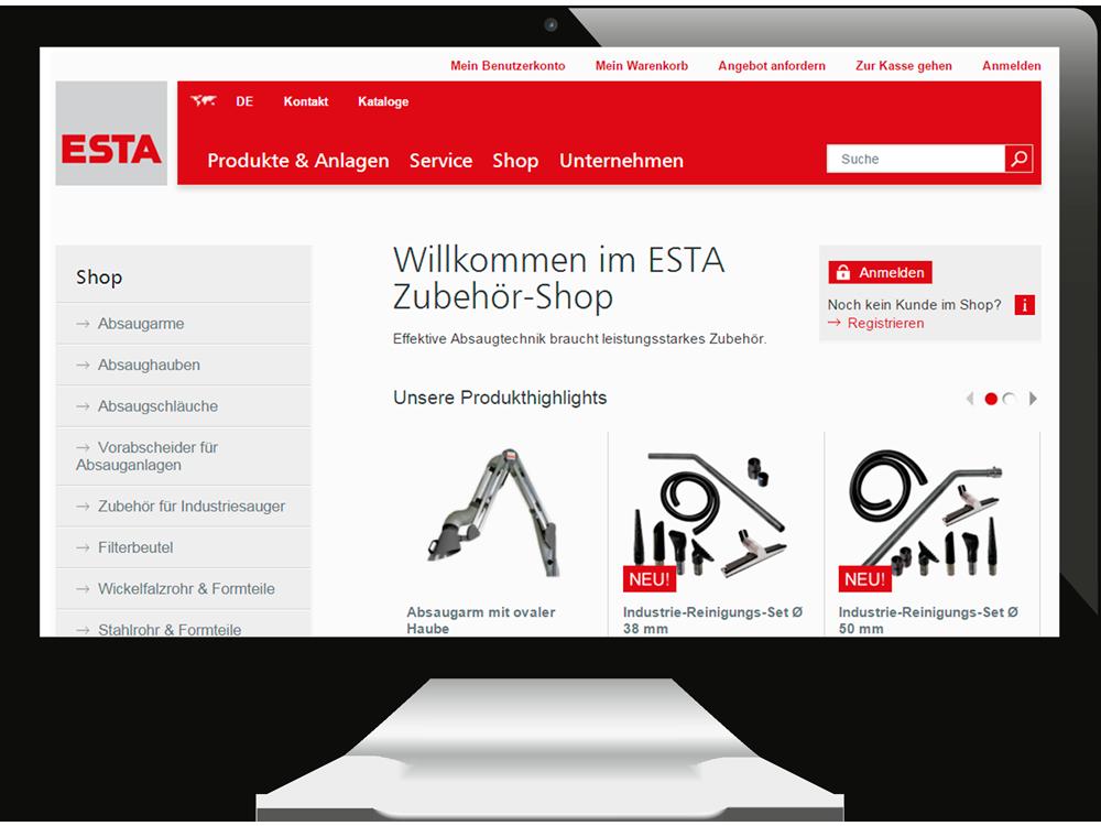 Der Online-Shop von ESTA.