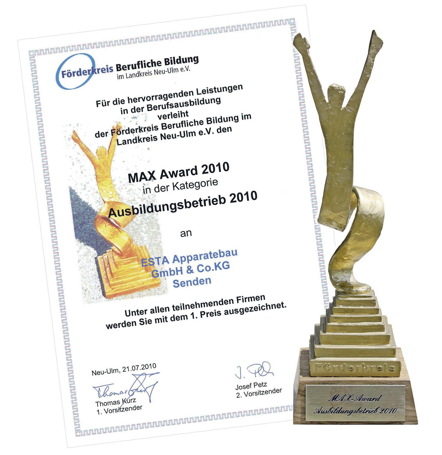 ESTA erhält den MAX Award als bester Ausbildungsbetrieb.