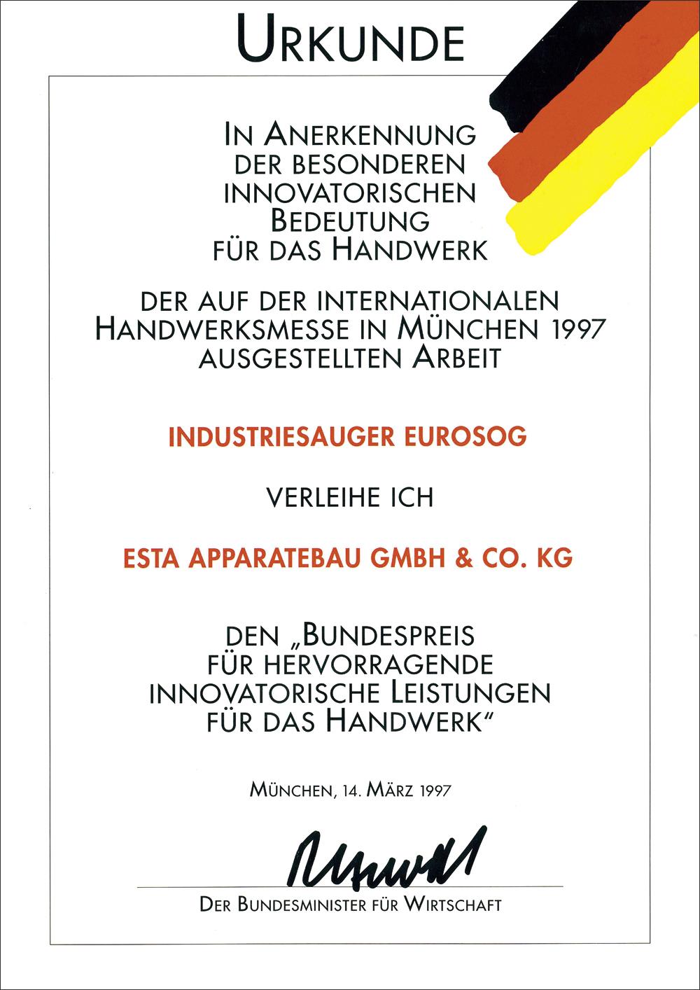 Urkunde für den Industriesauger EUROSOG.