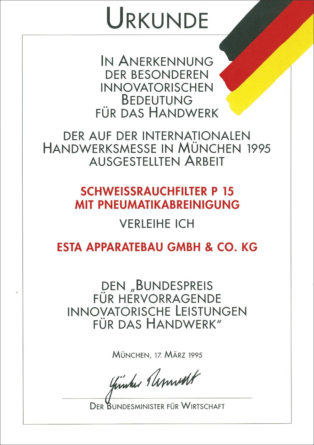 Urkunde für den Schweissrauchfilter P15.