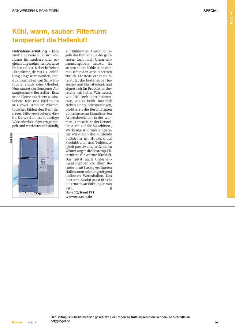 Der Filterturm Filtower von ESTA temperiert die Hallenluft.