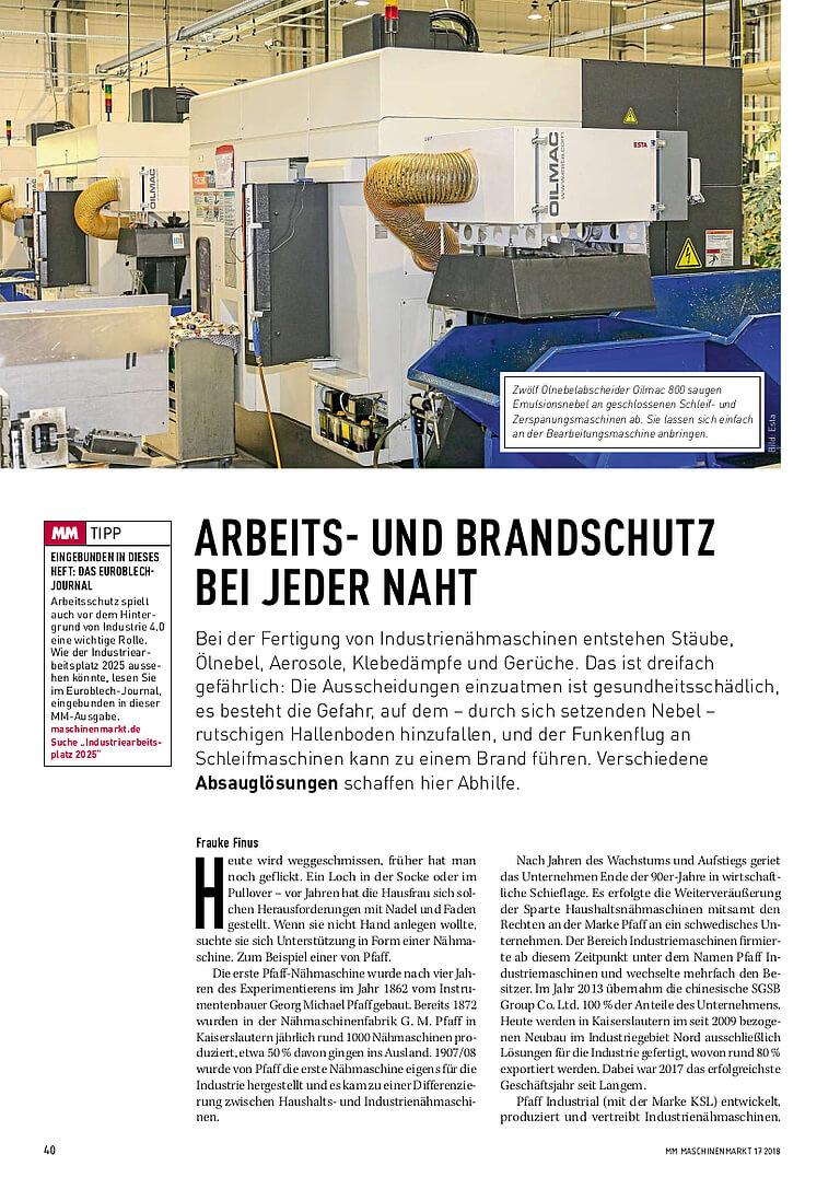 Absauglösungen für den Arbeits-und Brandschutz bei der Fertigung von Industrienähmaschinen.