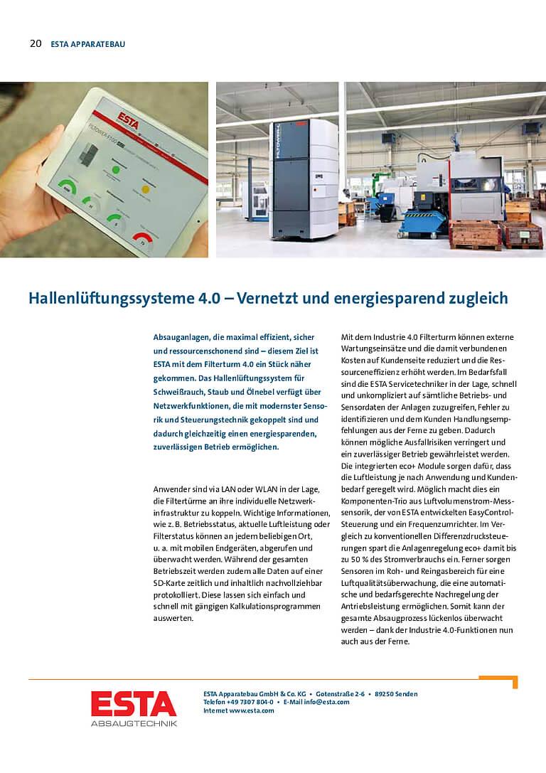 """ESTA wurde durch den Filterturm Filtower als Hallenlüftungssystem 2017 ausgezeichnet zum Preisträger des Wettbewerbs """"100 Orte für Industrie 4.0 in Baden-Württemberg""""."""