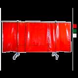 3-teilige mobile Schutzwand mit Vorhang