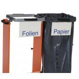 "Frontschild für Müllsackwagen - Beschriftung ""Papier"""