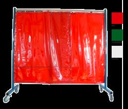 1-teilige mobile Schweißerschutzwand mit Vorhang